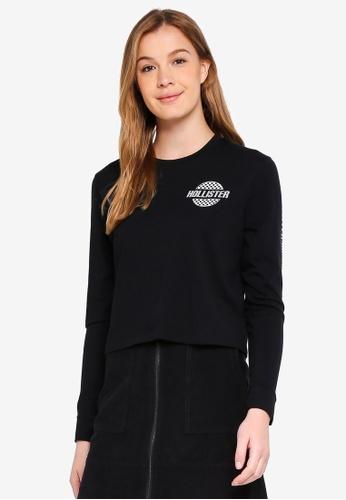 Hollister black Long Sleeve Checker Logo Crew Top 47276AAC4C0932GS_1