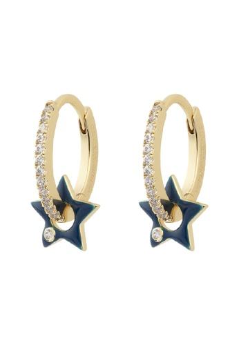 Wanderlust + Co gold Star Navy & Gold Hoop Earrings FADEDACF21A101GS_1