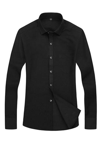 Trendyshop 黑色 純色日糸修身長袖恤衫 TR512AA21IAWTW_1