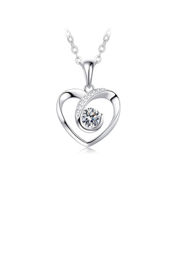 Glamorousky white 925 Sterling Silver Valentine's Day Heart Pendant with White Cubic Zircon and Necklace 47DAFACDA18E40GS_1