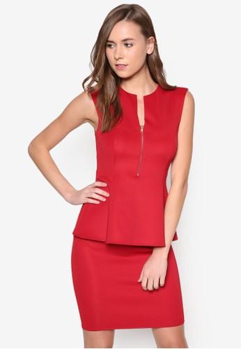 拉鍊腰飾緊身連身裙, zalora taiwan 時尚購物網服飾, 服飾