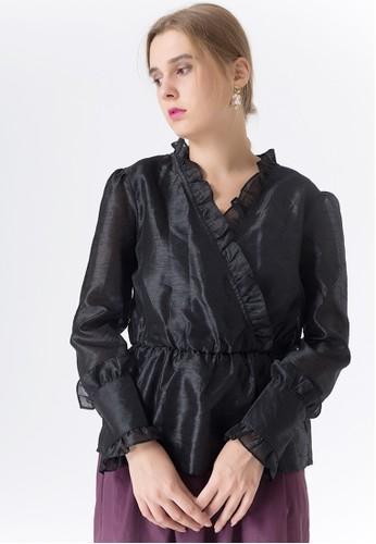 United Concepts black Fancy Ruffles 'Lillian' Top 14E8AAAF89BC11GS_1