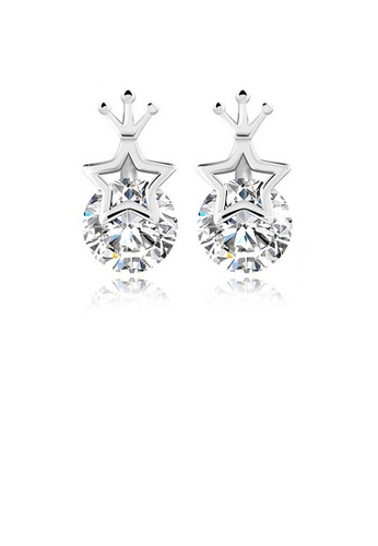 Glamorousky white 925 Sterling Silver Star Crown Stud Earrings with Cubic Zircon B5930AC3DDA051GS_1