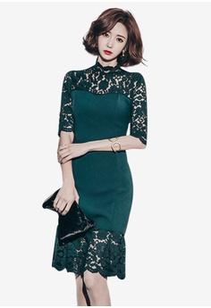 Sunnydaysweety green Lace Half Sleeves One Piece Dress 2F1EBAAC9FD205GS 1 df29639da