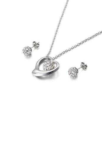 Glamorousky white Fashion Simple Heart Shaped 316L Stainless Steel Necklace and Stud Earring Set with Cubic Zirconia 0EC59AC1C40763GS_1