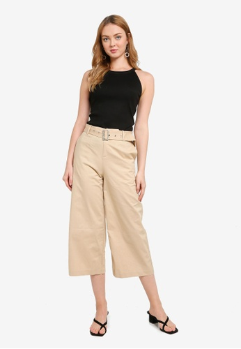 Hopeshow brown and beige Flare Cuff Capri Pants with Belt C2C64AAC445EFDGS_1