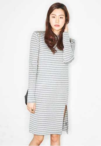 Long Sleeve Knit Stripe Dresprit outlet 香港ess, 服飾, 夏日洋裝
