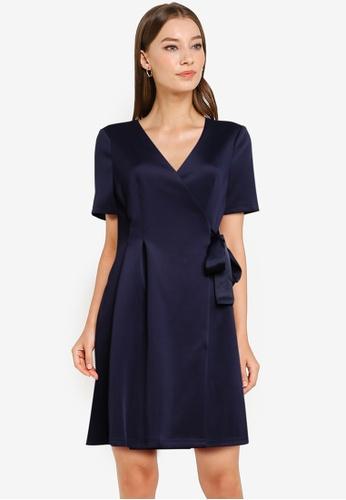 ZALORA WORK navy Fit & Flare Wrap Dress A6438AA864569BGS_1