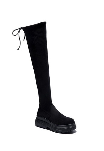 Twenty Eight Shoes 黑色 超修腳羊猄絨厚底過膝長靴Y33-1 9F7D2SH3BA7F57GS_1