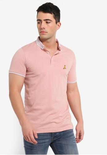 Brave Soul pink Split Hem Polo Shirt 49674AA8AAD15FGS_1