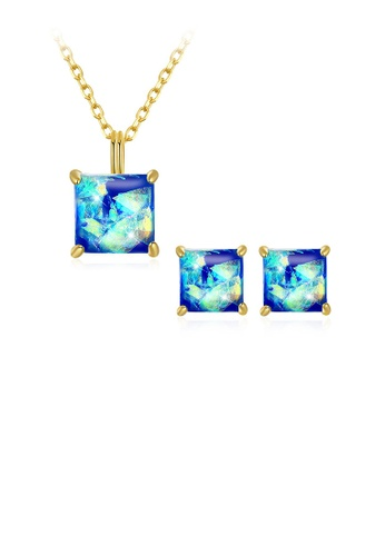 Glamorousky blue 925 Sterling Silver Gold Plated Elegant Fashion Square Pendant Necklace and Earrings Set with Blue Austrian Element Crystal 0EC06AC7108FA7GS_1