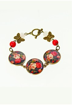 WLB010 Women's Bracelet with Butterfly and Flowers Print