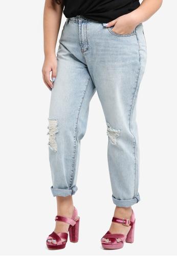 LOST INK PLUS blue Plus Size Boyfriend Jeans In Chilli Pepper B99D9AA774CB91GS_1