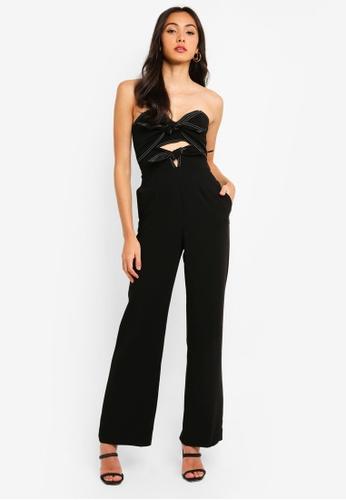 Bardot black Twin Bow Jumpsuit 58F75AA1EB0F33GS_1
