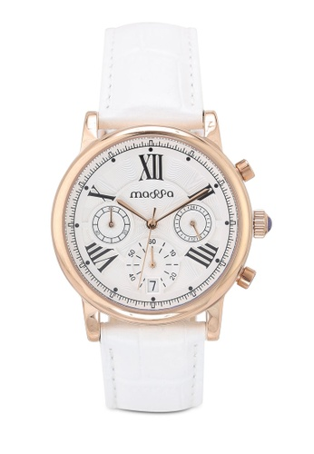Massa Collections white Ingenious White (White) Ladies Chronograph Leather Watch 54F2DAC0760F70GS_1