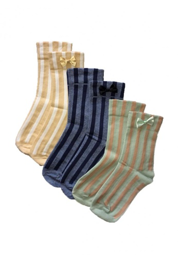 Chase Fashion yellow and green and blue Stripes Crew Socks  With Ribbon 456A6AA09CFE8AGS_1