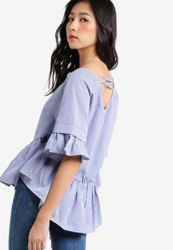 背部交叉帶細條紋荷葉擺上衣, 服飾, 上zalora時尚購物網的koumi koumi衣