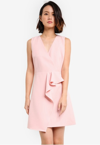 ZALORA pink Waterfall Front V neck Dress 496ACAAB4BCD6EGS_1