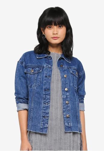 Something Borrowed blue Oversized Denim Jacket BA88EAA3CBFE54GS_1