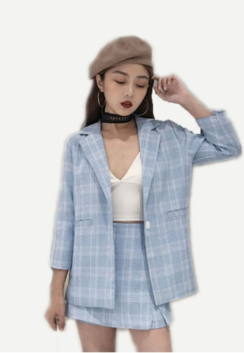 Seoul in Love white and blue Jeeyon Checkered Blazer with Skort 13C5DAA3DF6721GS_1
