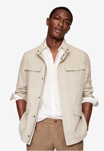 MANGO Man grey 100% Linen Saharan Jacket BFDD8AA560BCF3GS_1