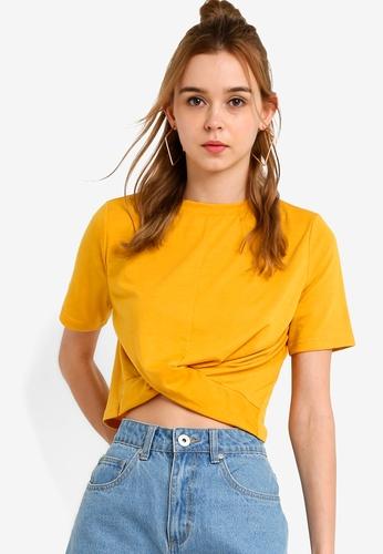 Something Borrowed 黃色 扭結下擺T恤 B132CAA79083A0GS_1