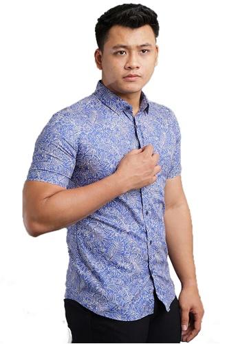 UA BOUTIQUE blue Short Sleeve Shirt Batik SSB122-043 (L.Blue/ Cream) 1EDA4AA15E991CGS_1