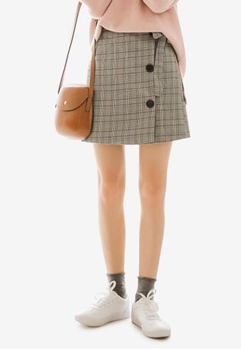 Shopsfashion 灰色 Wrapped Checked Skirt 79F62AA00DDCADGS_1