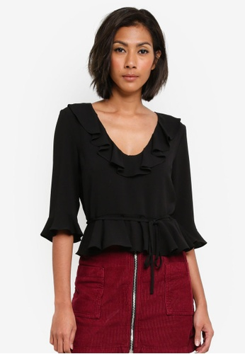 TOPSHOP black Ruffle Detail Blouse TO412AA0S7UHMY_1