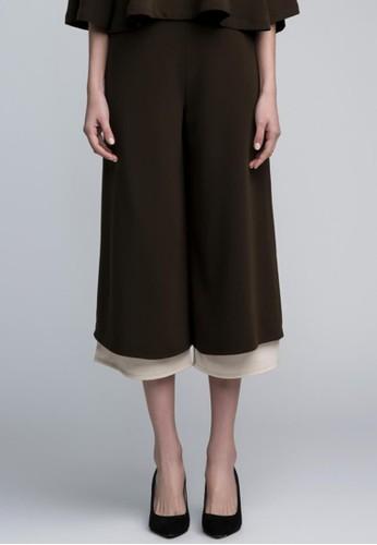 雙層雪紡寬管褲esprit 中文, 服飾, 九分褲