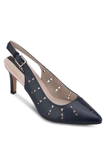 沖孔esprit hk store繞踝高跟鞋, 女鞋, 中跟