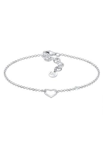 Elli Germany silver Perhiasan Wanita Perak Asli - Silver Gelang Love Klasik Diamond (0.015 ct.) EL948AC0V8RGID_1