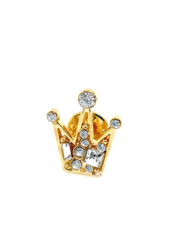 The Little Link Cufflinks gold Gold Crown Lapel Pin TH089AC0G4XZSG_1