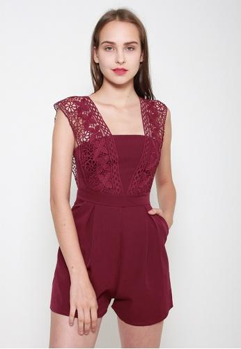 Leline Style red Janiya Lace Romper BA44CAA88B6199GS_1