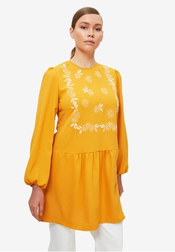 Trendyol 橘色 花卉Tunic上衣 E64D7AA14E0454GS_1
