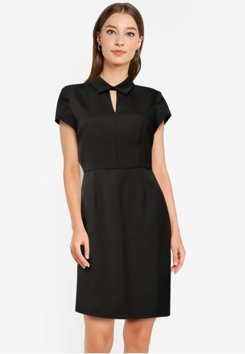 ZALORA WORK black Collared Sheath Dress FC8D9AA805DBC3GS_1
