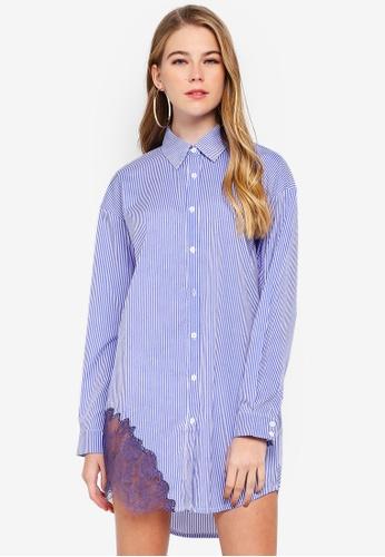 MISSGUIDED blue Lace Trim Shirt Dress A560EAA37DCC61GS_1