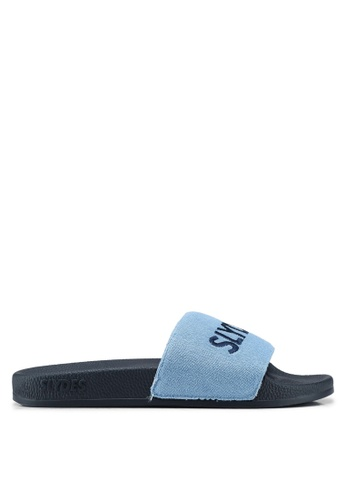 Slydes blue and navy Plya Sandals CF7E8SHC2DFFE4GS_1