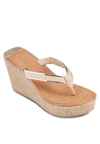 Jeroasien 金屬邊夾腳楔型涼鞋,zalora鞋 女鞋, 鞋