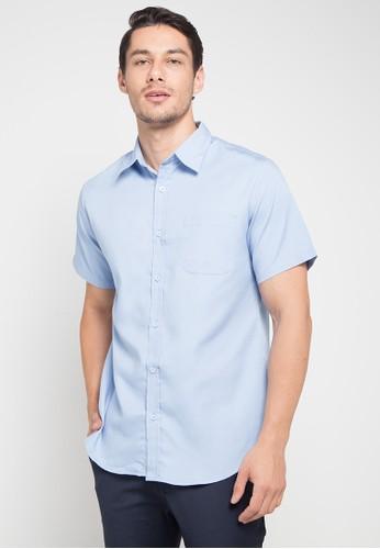 Tolliver blue Short Sleeve Oxford Shirt 1861BAA4CE3CC6GS_1