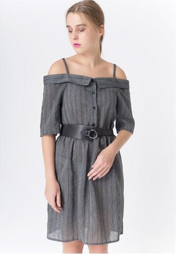United Concepts grey Bardot Stripes 'Molly' Dress 54A37AA2920C87GS_1