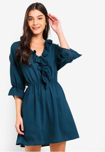 ZALORA green Ruffles Neck Mid Sleeves Dress 0CF33AA3DD5CE6GS_1