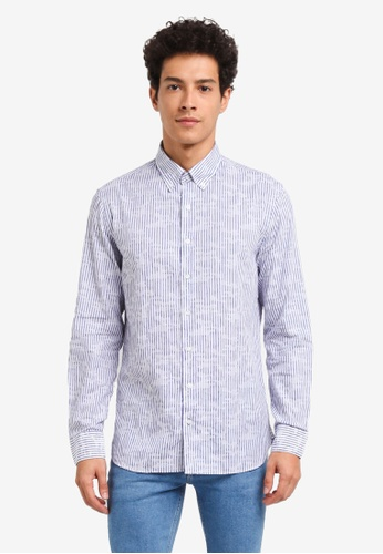 MANGO Man 藍色 長袖條紋襯衫 CC9F7AABDF80D6GS_1