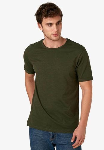 LC Waikiki green Crew Neck Combed Cotton Men's T-Shirt 23B84AA22BC695GS_1