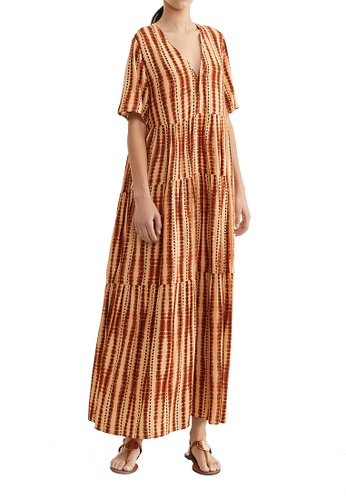 Parfois orange V-Neck Dress With Full Skirt 2883BAAF20AD9CGS_1