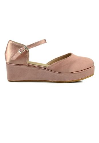 SHINE pink SHINE Round Toe Ankle Strap Platform Wedges 21ED4SH73A2ABEGS_1