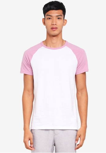 Burton Menswear London white Pink And White Raglan T-Shirt A3501AADCADF68GS_1