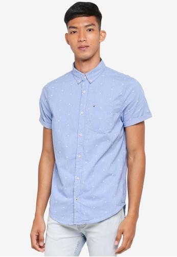 Hollister blue Poplin Geo Print Shirt 48112AA68097C3GS_1