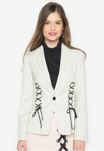 TOPSHOP white Stripe Blazer With Lace Detailing TO099AA0J9W9PH_1
