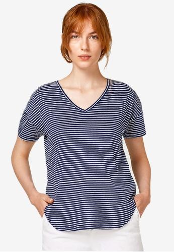ESPRIT blue Stripe T-Shirt 020C2AAE376C6CGS_1